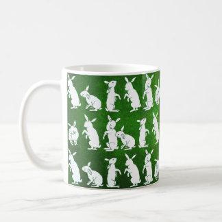 Vintage Illustration of Bunnies on Green Basic White Mug