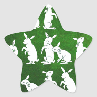 Vintage Illustration of Bunnies on Green Star Sticker