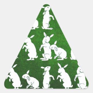 Vintage Illustration of Bunnies on Green Triangle Sticker