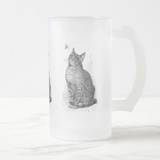 Vintage illustration of Cat watching an Insect Frosted Glass Beer Mug