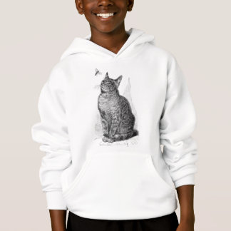 Vintage illustration of Cat watching an Insect Hoodie
