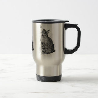 Vintage illustration of Cat watching an Insect Travel Mug
