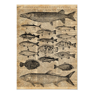 Vintage Illustration of Fishes Over Old Book Page Card