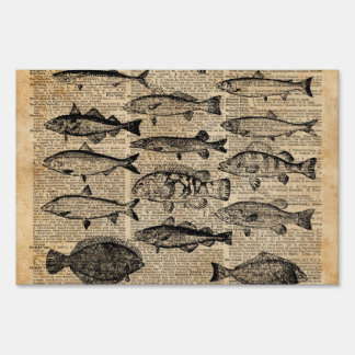 Vintage Illustration of Fishes Over Old Book Page Lawn Sign