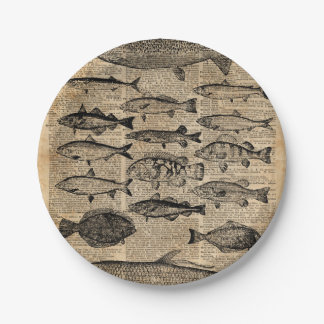 Vintage Illustration of Fishes Over Old Book Page Paper Plate
