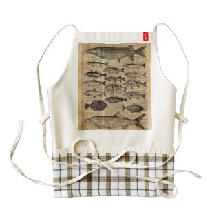 Vintage Illustration of Fishes Over Old Book Page Zazzle HEART Apron