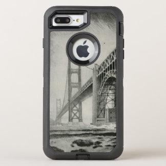 Vintage Illustration of Golden Gate Bridge OtterBox Defender iPhone 7 Plus Case