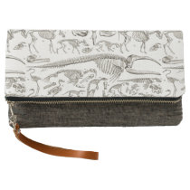 Vintage Illustration of Human & Animal Bones Clutch
