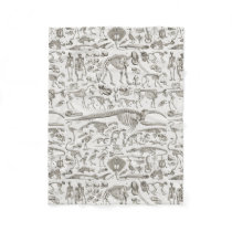 Vintage Illustration of Human & Animal Bones Fleece Blanket