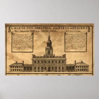 Vintage Illustration of Independence Hall Poster