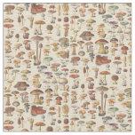 Vintage illustration of mushrooms fabric