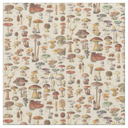 Vintage illustration of mushrooms fabric