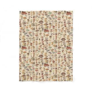 Vintage illustration of mushrooms fleece blanket