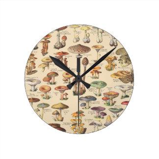Vintage illustration of mushrooms round clock