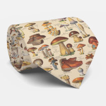 Vintage illustration of mushrooms tie