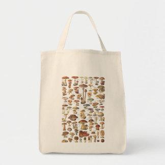 Vintage illustration of mushrooms tote bag