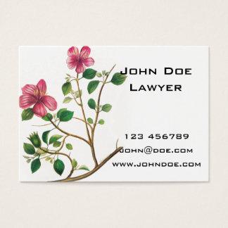 Vintage Illustration Of Pink Flowers Business Card