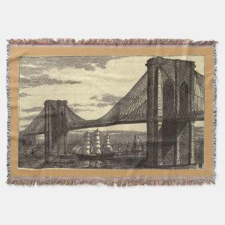 Vintage Illustration of The Brooklyn Bridge (1879) Throw