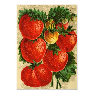 Vintage Illustration of the Jessie Strawberry 5x7 Paper Invitation Card