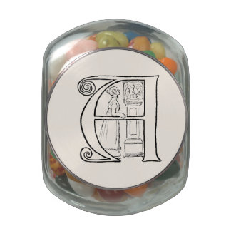 Vintage Illustration of the Letter A Glass Candy Jar