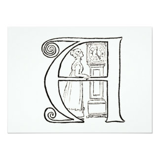 Vintage Illustration of the Letter A Personalized Invitations