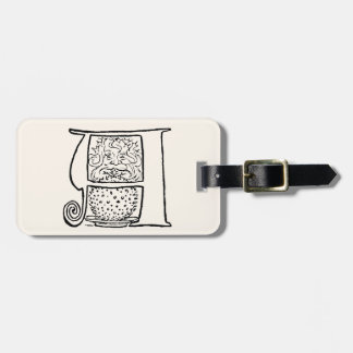 Vintage Illustration of the Letter A Luggage Tag