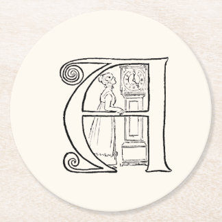 Vintage Illustration of the Letter A Round Paper Coaster