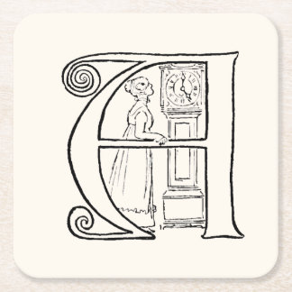 Vintage Illustration of the Letter A Square Paper Coaster