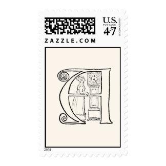 Vintage Illustration of the Letter A Stamp