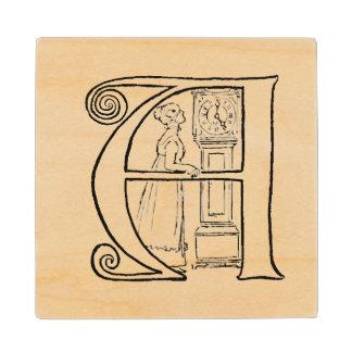 Vintage Illustration of the Letter A Wooden Coaster