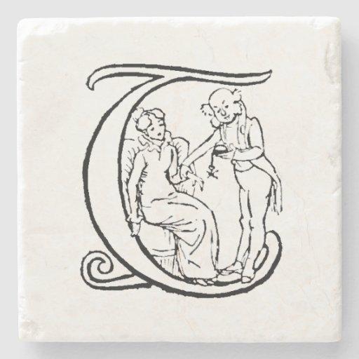 Vintage Illustration Of The Letter Monogram T Stone