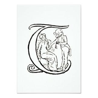 Vintage Illustration of the Letter Monogram T Personalized Invite
