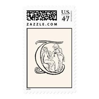 Vintage Illustration of the Letter Monogram T Postage Stamp