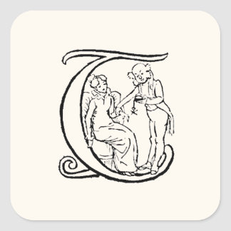 Vintage Illustration of the Letter Monogram T Square Sticker