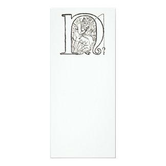 Vintage Illustration of the Letter N Card
