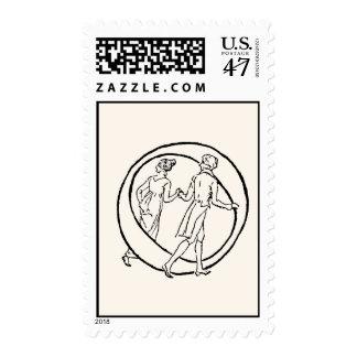 Vintage Illustration of the Letter O Postage Stamp