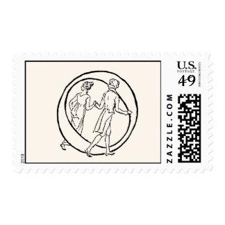 Vintage Illustration of the Letter O Stamp