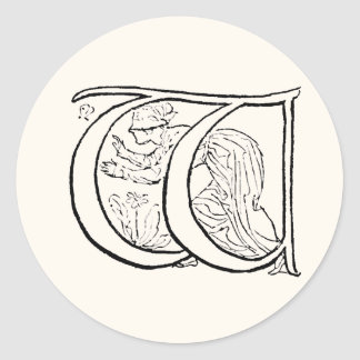 Vintage Illustration of the Letter w Classic Round Sticker
