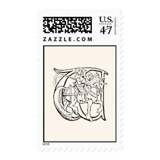 Vintage Illustration of the Letter w Postage
