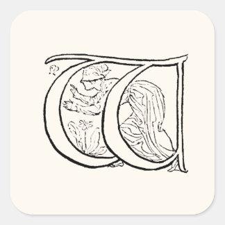 Vintage Illustration of the Letter w Square Sticker