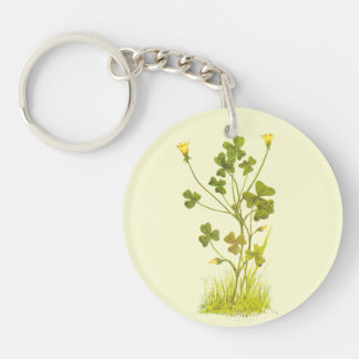 Vintage Illustration of the Yellow Wood-Sorrel Keychain