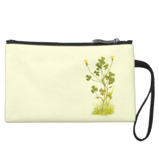 Vintage Illustration of the Yellow Wood-Sorrel Suede Wristlet Wallet