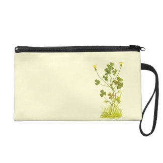 Vintage Illustration of the Yellow Wood-Sorrel Wristlet Purse