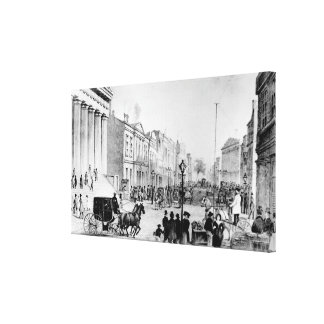 Vintage Illustration of Wall Street NYC (1867) Canvas Print