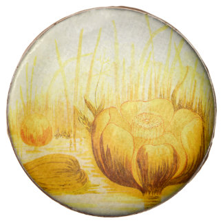 Vintage Illustration of Yellow Pond Lilies Chocolate Dipped Oreo