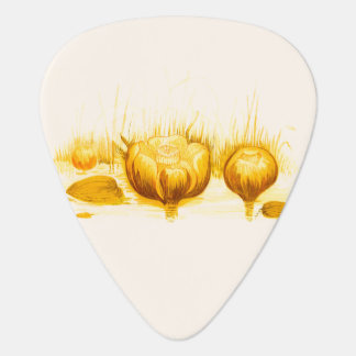 Vintage Illustration of Yellow Pond Lilies Guitar Pick