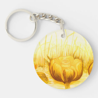 Vintage Illustration of Yellow Pond Lilies Acrylic Keychain