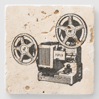 Vintage Illustration Projector Stone Coaster