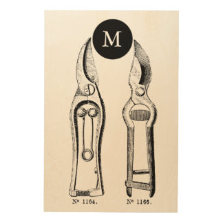 VINTAGE ILLUSTRATION Pruners 24x36 Wood Wall Art