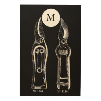 VINTAGE ILLUSTRATION Pruners Monogram Wood Wall Wood Wall Art